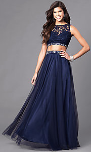Image of long two-piece prom dress with lace bodice. Style: LP-90014 Front Image