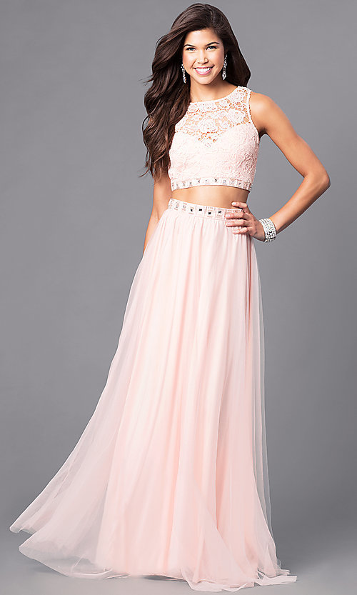 Image of long two-piece prom dress with lace bodice. Style: LP-90014 Detail Image 1