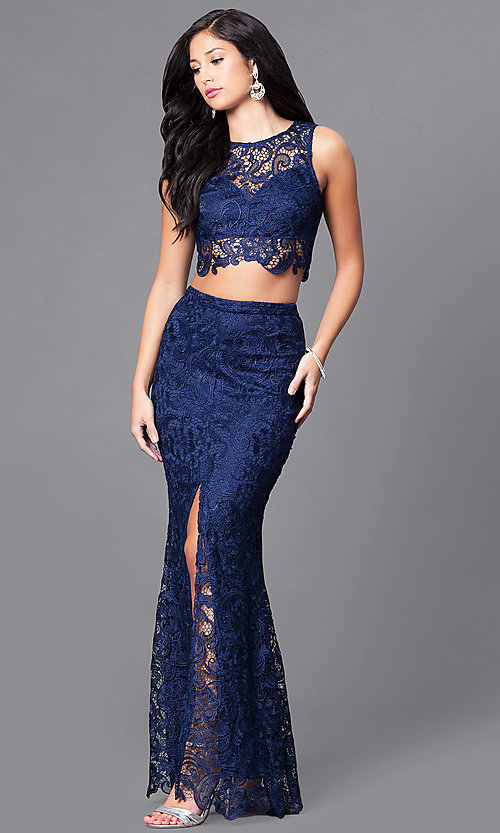 Image of long lace two-piece prom dress with slit. Style: LP-90023 Front Image