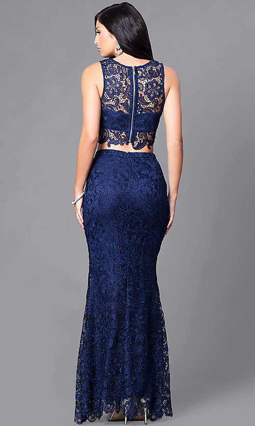 Image of long lace two-piece prom dress with slit. Style: LP-90023 Back Image