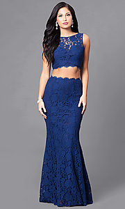 Image of long two-piece lace prom dress. Style: LP-90024 Front Image
