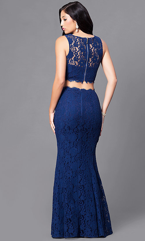 Image of long two-piece lace prom dress. Style: LP-90024 Back Image