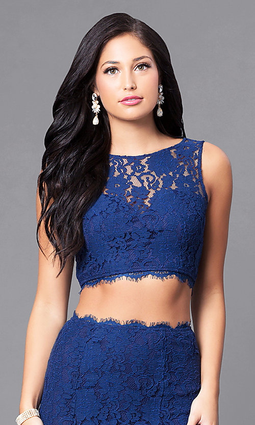Image of long two-piece lace prom dress. Style: LP-90024 Detail Image 1