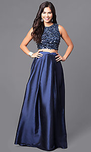 Image of two-piece navy blue prom dress with sequined bodice.  Style: LP-90051 Front Image