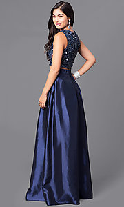 Image of two-piece navy blue prom dress with sequined bodice.  Style: LP-90051 Back Image
