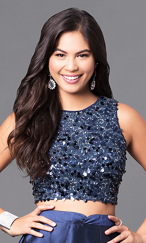 Image of two-piece navy blue prom dress with sequined bodice.  Style: LP-90051 Detail Image 1