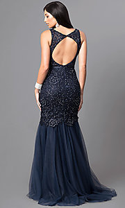 Image of long navy lace mermaid prom dress with open back. Style: DQ-9256-N Back Image