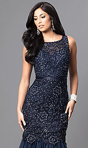 Image of long navy lace mermaid prom dress with open back. Style: DQ-9256-N Detail Image 1