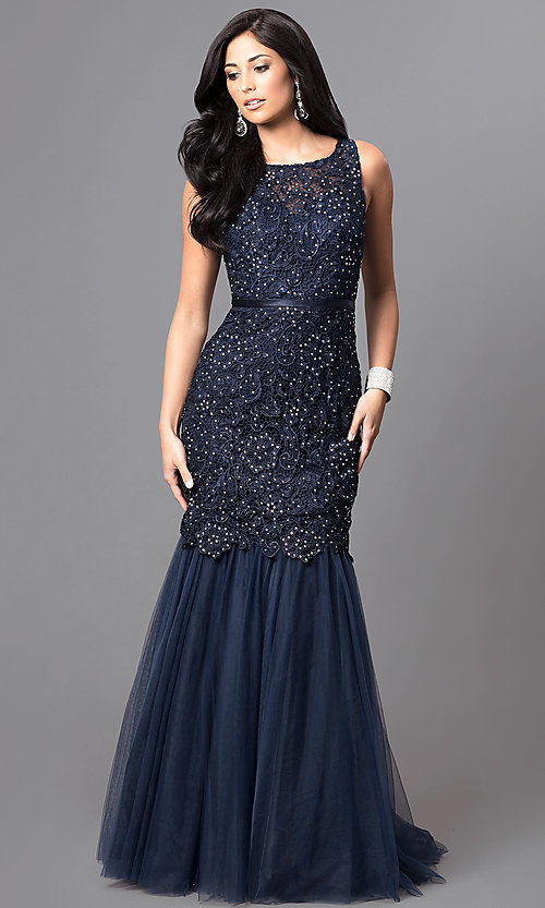 Image of long navy lace mermaid prom dress with open back. Style: DQ-9256-N Front Image