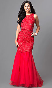 Red Sleeveless Lace Mermaid Prom Dress