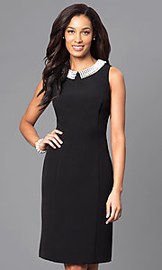 Black Knee-Length Dress with Beaded Collar