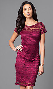 Image of berry red lace party dress with sheer short sleeves. Style: SD-S276350 Front Image