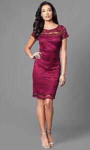 Image of berry red lace party dress with sheer short sleeves. Style: SD-S276350 Detail Image 1