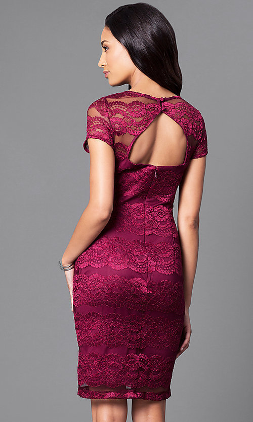 Image of berry red lace party dress with sheer short sleeves. Style: SD-S276350 Back Image