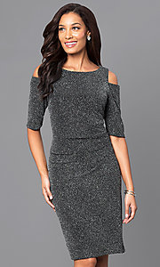 Knee-Length Glitter Half-Sleeve Dress with Cold Shoulders