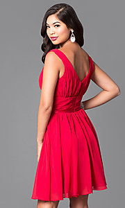Image of short a-line homecoming dress with v-neckline. Style: NA-6242 Back Image