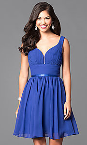 Image of short a-line homecoming dress with v-neckline. Style: NA-6242 Front Image