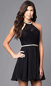 Image of short homecoming dress with lace halter bodice. Style: NA-6225 Detail Image 2