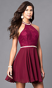 Short Homecoming Dress with Lace Halter Bodice