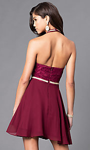 Image of short homecoming dress with lace halter bodice. Style: NA-6225 Back Image