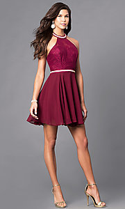 Image of short homecoming dress with lace halter bodice. Style: NA-6225 Detail Image 1