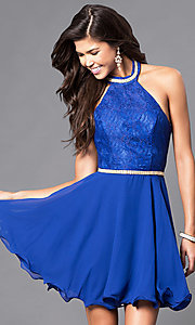 Image of short homecoming dress with lace halter bodice. Style: NA-6225 Detail Image 3