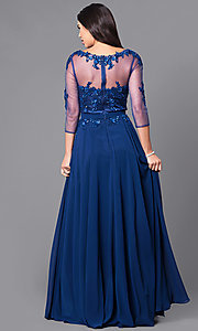 Image of lace-applique long prom dress with sheer 3/4 sleeves. Style: DQ-9473 Back Image