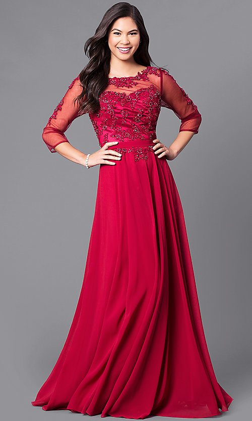 Image of lace-applique long prom dress with sheer 3/4 sleeves. Style: DQ-9473 Detail Image 1