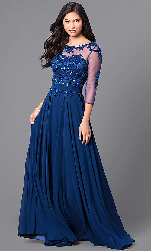 Image of lace-applique long prom dress with sheer 3/4 sleeves. Style: DQ-9473 Front Image