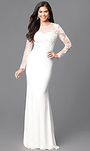 Long Sleeve Floor Length Lace Applique Prom Dress