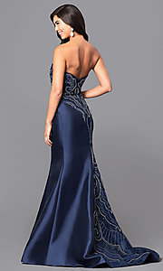 Image of satin mermaid long prom dress with beaded train. Style: NA-8257 Back Image