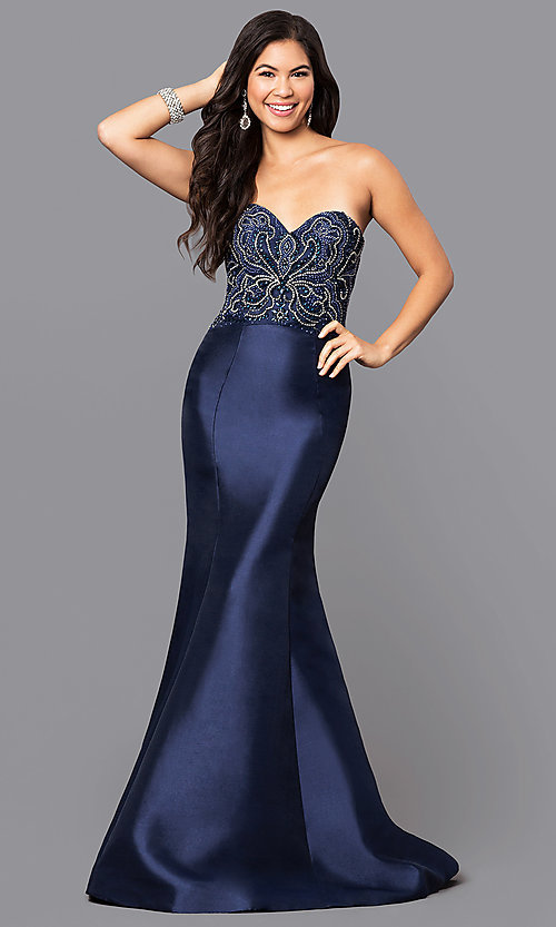 Image of satin mermaid long prom dress with beaded train. Style: NA-8257 Detail Image 1
