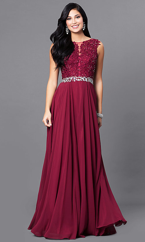 Image of sweetheart illusion jeweled-lace long evening dress. Style: NA-8270 Front Image
