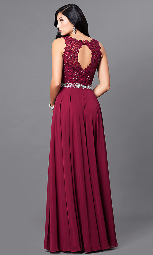 Image of sweetheart illusion jeweled-lace long evening dress. Style: NA-8270 Back Image