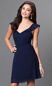 Image of open-back navy blue v-neck short homecoming dress. Style: MT-8172-1 Front Image