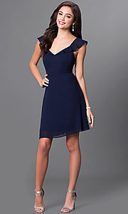 Image of open-back navy blue v-neck short homecoming dress. Style: MT-8172-1 Detail Image 1