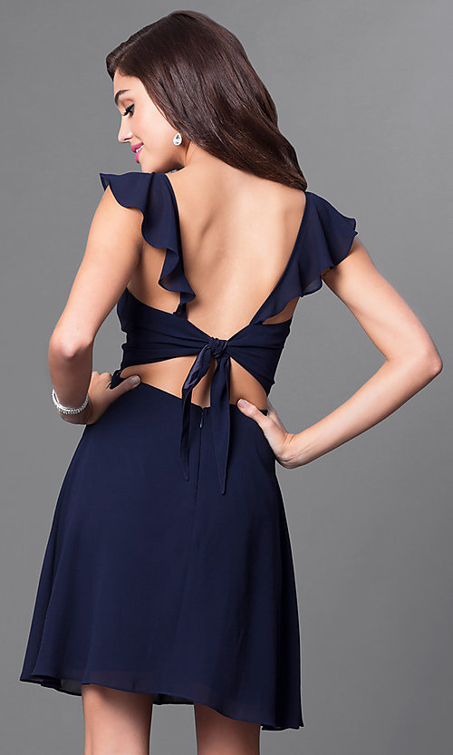 Image of open-back navy blue v-neck short homecoming dress. Style: MT-8172-1 Back Image