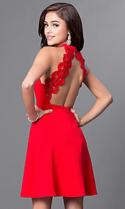 Image of high-neck a-line keyhole-bodice homecoming dress. Style: MT-8343 Back Image