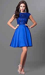 Image of cap-sleeve party dress with sequined-lace appliques. Style: MT-8175-1 Detail Image 1