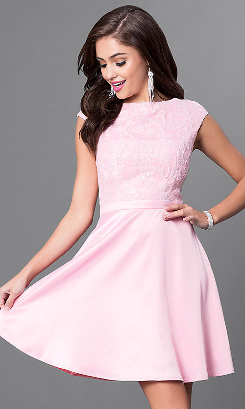 Image of cap-sleeve party dress with sequined-lace appliques. Style: MT-8175-1 Detail Image 2