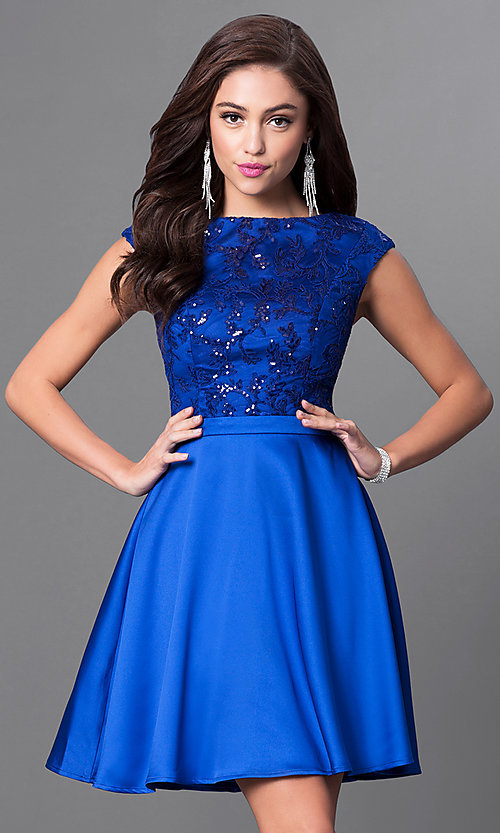 Image of cap-sleeve party dress with sequined-lace appliques. Style: MT-8175-1 Front Image