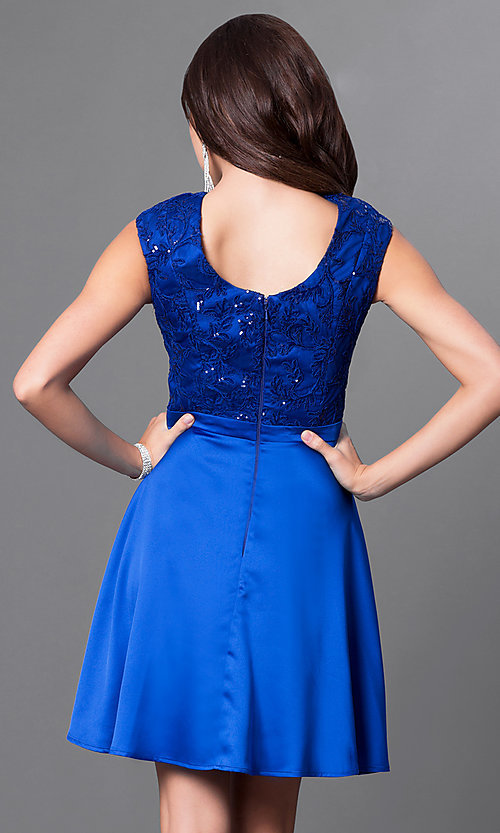 Image of cap-sleeve party dress with sequined-lace appliques. Style: MT-8175-1 Back Image