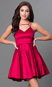 Image of short v-neck multi-strap homecoming party dress. Style: MT-8344 Front Image
