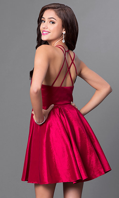 Image of short v-neck multi-strap homecoming party dress. Style: MT-8344 Back Image