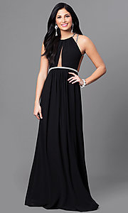 Open-Back Long Black Prom Dress with Jeweled Straps