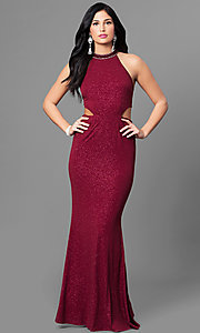Image of burgundy red long glitter prom dress with cut outs. Style: MT-8164 Front Image