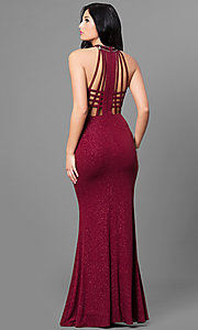Image of burgundy red long glitter prom dress with cut outs. Style: MT-8164 Back Image