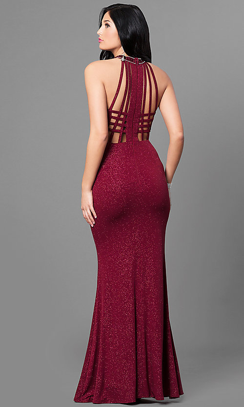 Long Cut-Out Burgundy Red Glitter Prom Dress-PromGirl