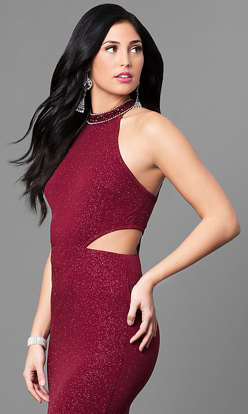 Image of burgundy red long glitter prom dress with cut outs. Style: MT-8164 Detail Image 1