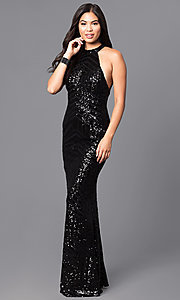 Image of long black sequin prom dress with open back. Style: MT-8188 Back Image